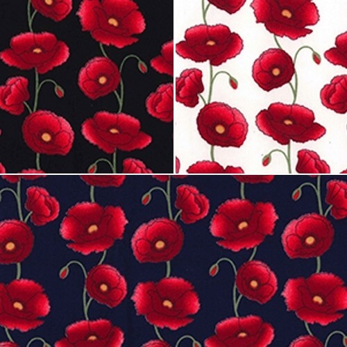 Black 100% Cotton Poplin Fabric Rose & Hubble Penkridge Poppy Flowers Floral Poppies