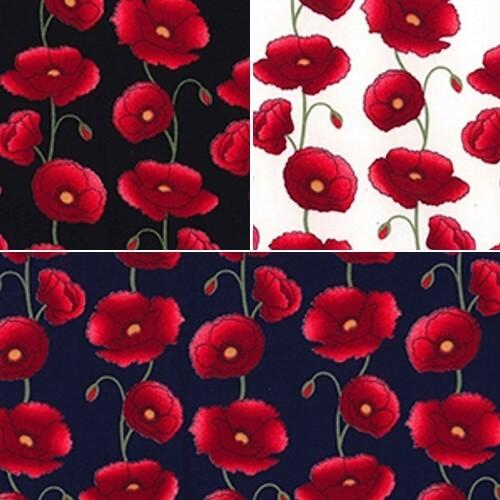 Navy 100% Cotton Poplin Fabric Rose & Hubble Penkridge Poppy Flowers Floral Poppies