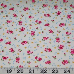 100% Cotton Poplin Fabric Rose & Hubble Ditsy Roses Hearts Floral Flowers