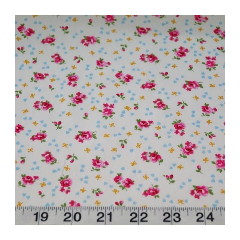 Ivory 100% Cotton Poplin Fabric Rose & Hubble Ditsy Roses Hearts Floral Flowers