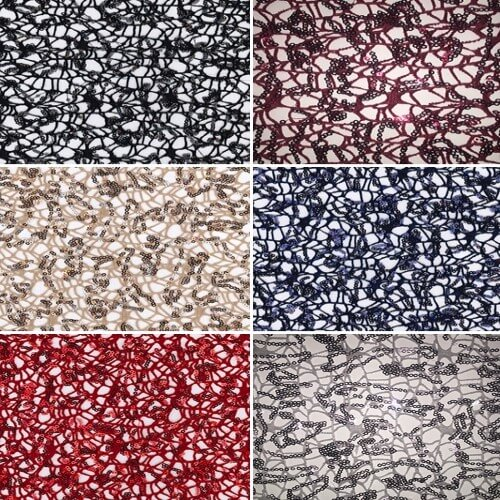 Shiny Sparkly Sequin Lace Polyester Fabric Fancy Dress Craft