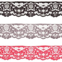 31mm x 1m, 2m, 5m and 10m Floral Daisy Chain Leaves Nylon Lace Trim Craft