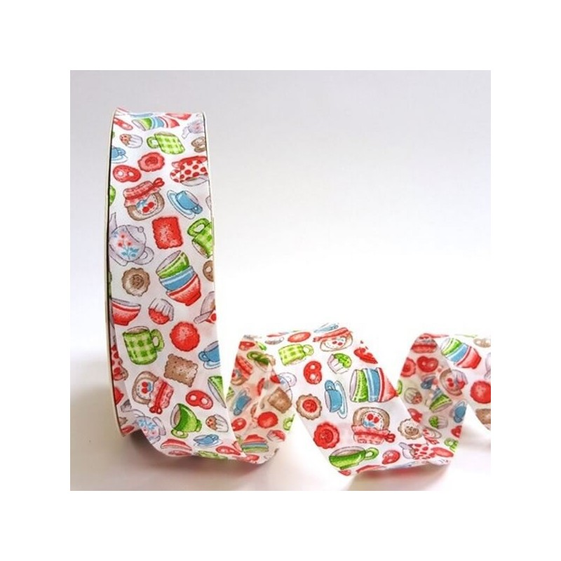 Orange 30mm Tea Time Coffee and a Cake Print 100% Cotton Bias Binding