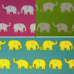 Mini Elephants Herd Walking In Lines 100% Cotton Fabric