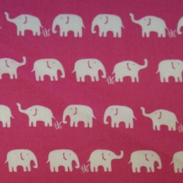 Small Elephants Walking In The Grass In Rows 100% Cotton Fabric Freedom