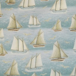 Seaside Nautical Sailing Boats Yachts and Seagulls 100% Cotton Fabric