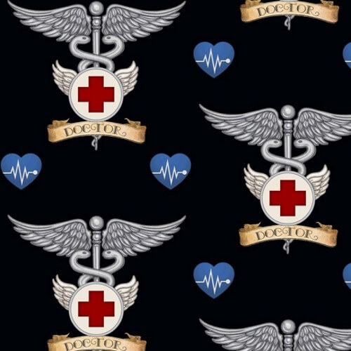 Just What The Doctor Ordered Tattoo Style Doctor Symbol Badge 100% Cotton Fabric