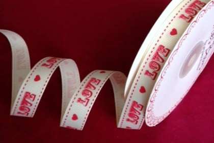 16mm Bertie's Bows Vintage Love & Hearts Red On Natural Grosgrain Craft Ribbon