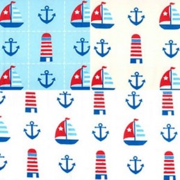 100% Cotton Poplin Fabric Rose & Hubble Nautical Anchor Lighthouse Sailing Boat