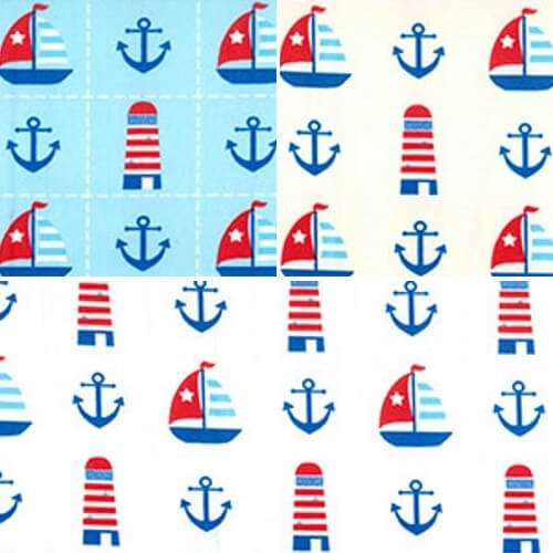 Blue 100% Cotton Poplin Fabric Rose & Hubble Nautical Anchor Lighthouse Sailing Boat