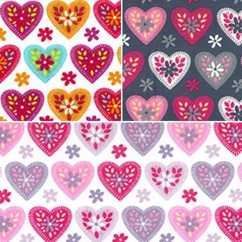 Grey 100% Cotton Poplin Fabric Rose & Hubble Floral Love Hearts Ditsy Daisies