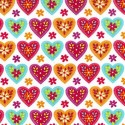 Bright 100% Cotton Poplin Fabric Rose & Hubble Floral Love Hearts Ditsy Daisies