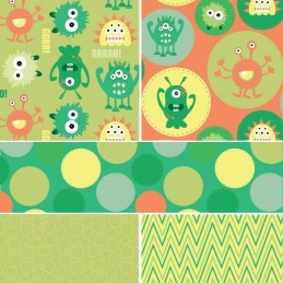 Green Monster Mayhem Little Creatures 100% Cotton Fabric (Fabric Freedom)