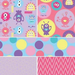 Lilac Monster Mayhem Little Creatures 100% Cotton Fabric (Fabric Freedom)