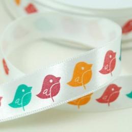 Multi Colour Birds Ribbon 15mm Or 25mm