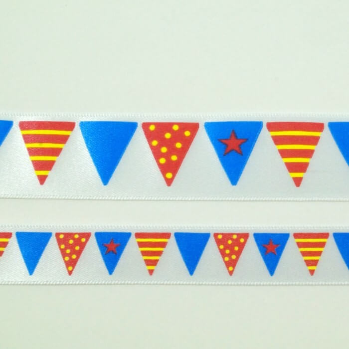 Bunting Print Ribbon 15mm Or 25mm