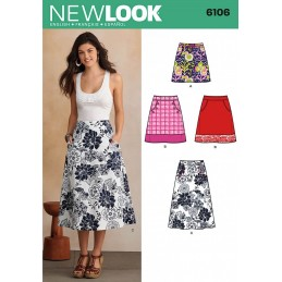 New Look Misses' A-Line Skirt In Three Lengths With Pockets Sewing Pattern 6106