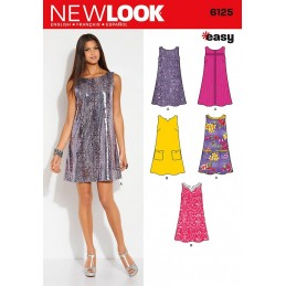 New Look Misses' A-line shift with Pocket Dress Sewing Pattern 6125