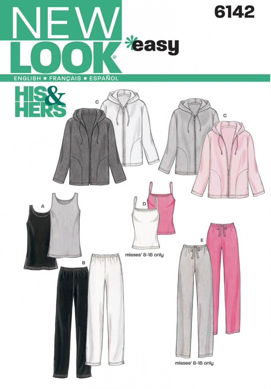 New Look Easy Unisex Sportswear Jacket, Top & Jogging Bottoms Sewing Pattern 6142