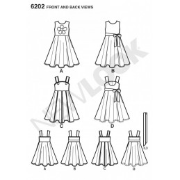New Look Child's Dress with Circle Skirt Sash Sewing Pattern 6202