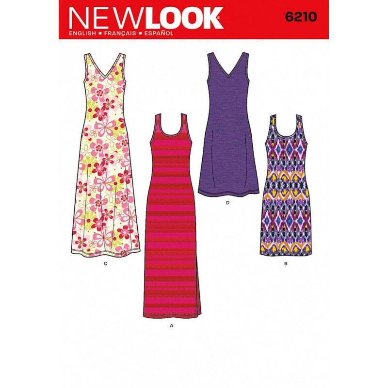 New Look Misses' Knit Tank Dress in Knee or Long Length  Sewing Pattern 6210