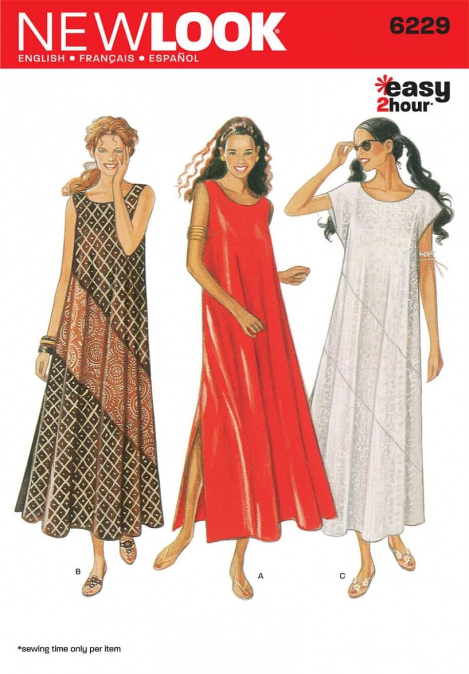 New Look Misses' Dress Full Length Sewing Pattern 6229
