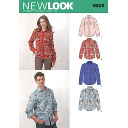 New Look Misses' and Men's Button Down Shirt Sewing Pattern 6232