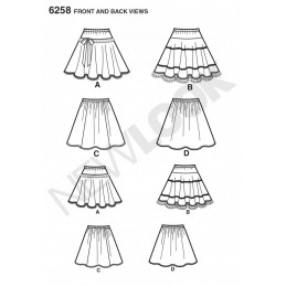 New Look Child's and Girls' Circle Skirts Sewing Pattern 6258
