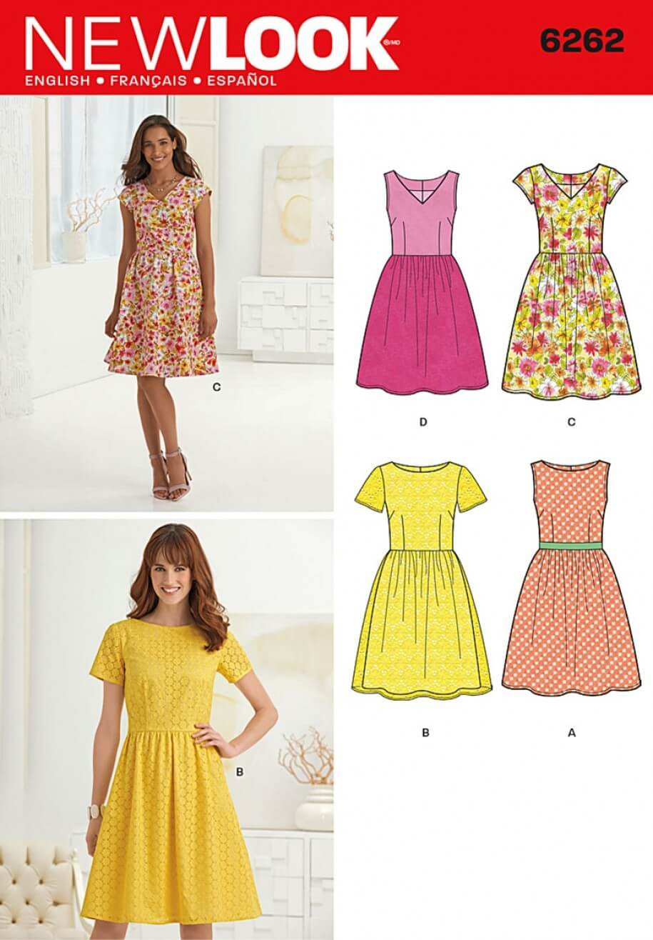 New Look Dresses with Neck Line Variations Sewing Pattern 6261
