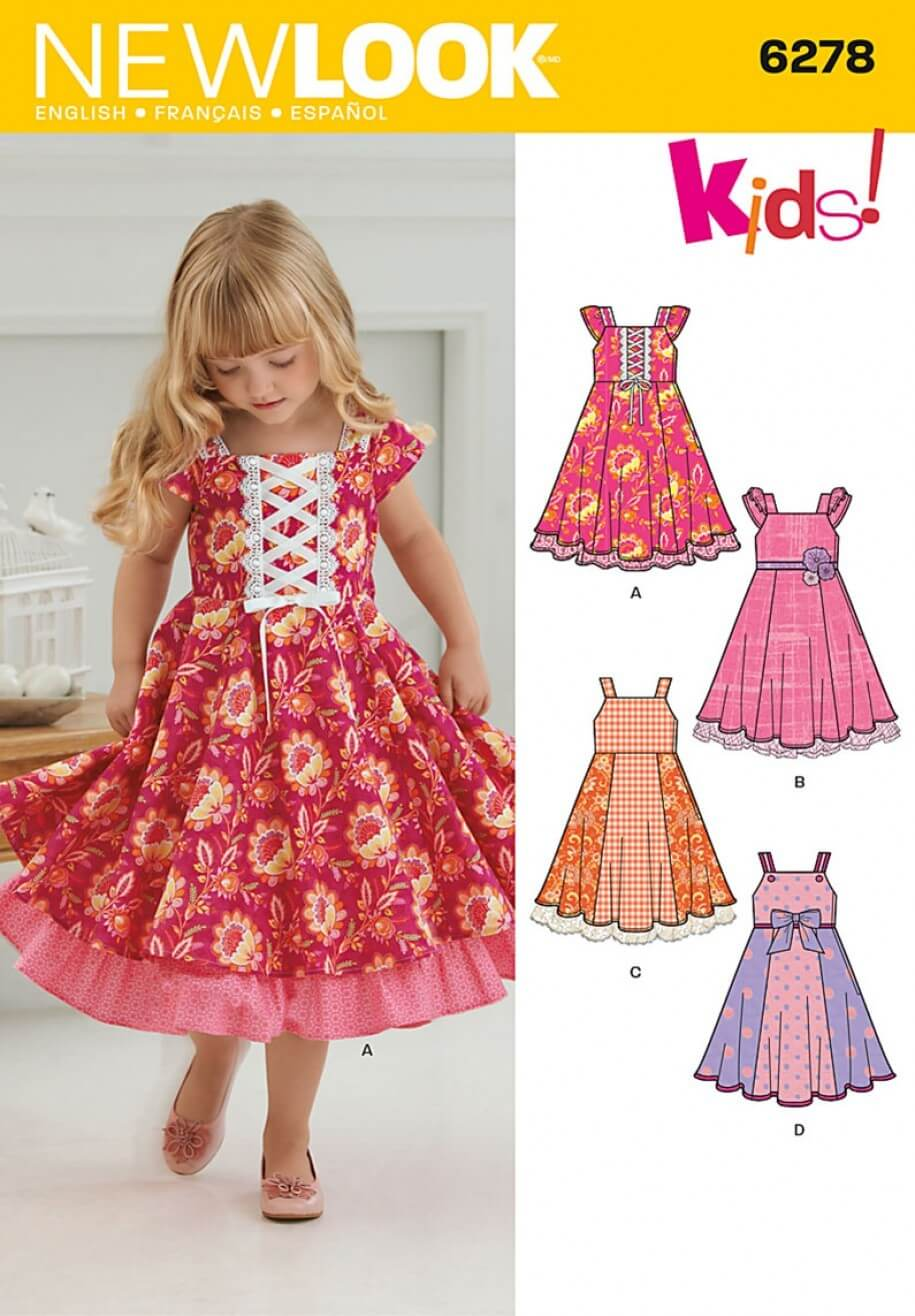 New Look Child's Dress with Trim Variations Sewing Pattern 6278
