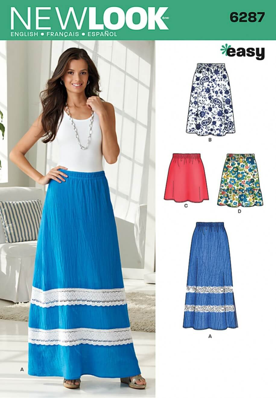 New Look Misses' Pull on Skirt in Four Lengths Sewing Pattern 6287