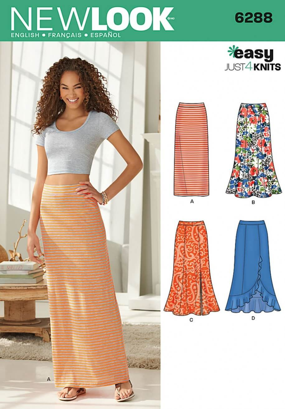 New Look Misses' Pull on Knit Skirts Sewing Pattern 6288
