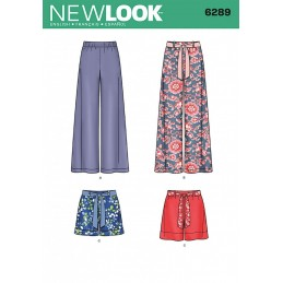 New Look Misses' Pull-on Trousers or Shorts and Tie Belt Sewing Pattern 6289