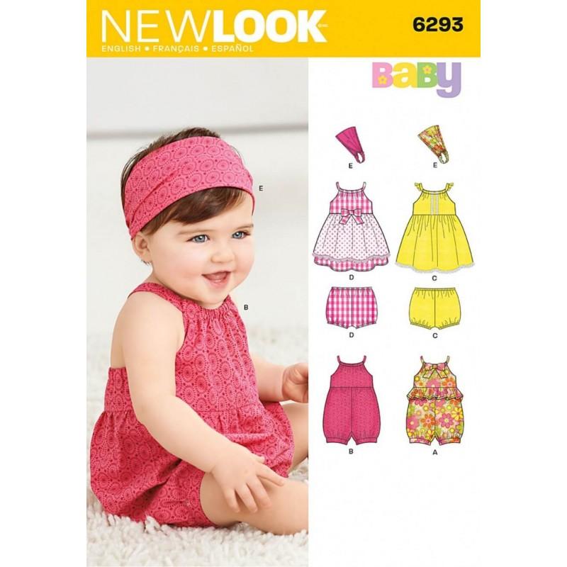 New Look Babies' Romper, Dress, Panties and Headband Sewing Pattern 6293