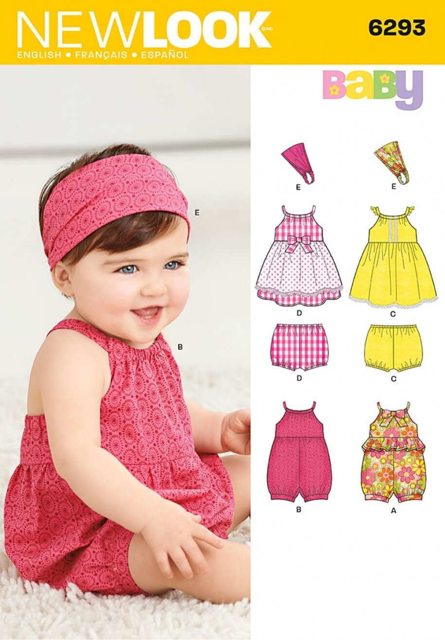New Look Babies' Romper, Dress, Panties and Headband Sewing Pattern 6293