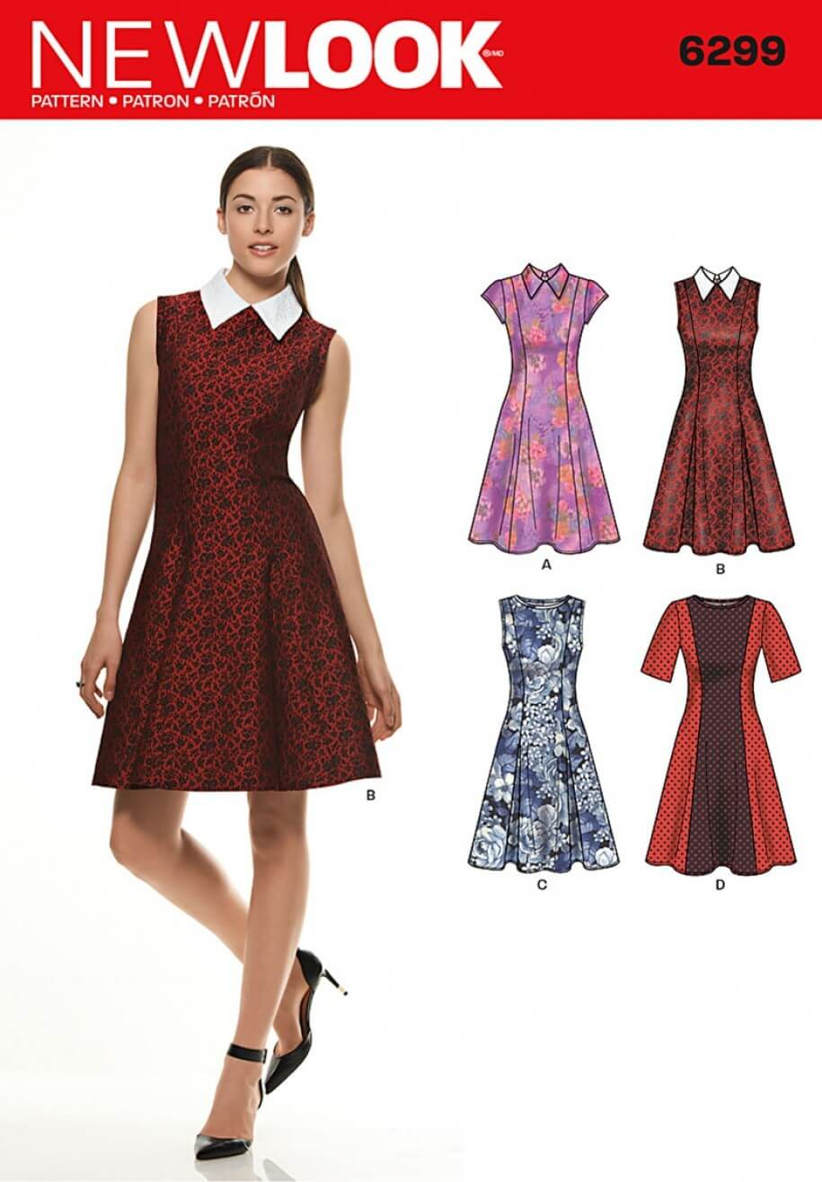 New Look Misses' Dress with Neckline & Sleeve Sewing Pattern 6299