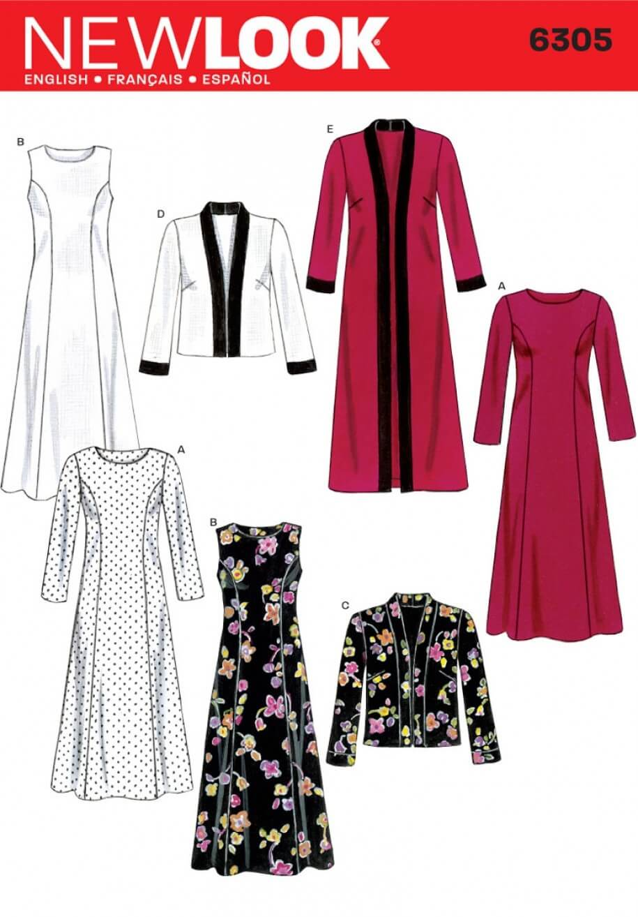New Look Misses' Dress and Long or Short Jacket Sewing Pattern 6305
