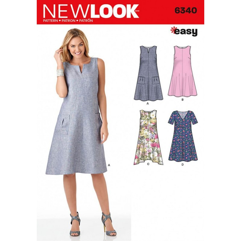 New Look Misses\' Easy Dresses Dress Sewing Pattern 6340