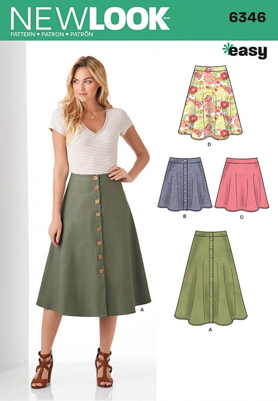 New Look Misses' Easy Skirts in Three Lengths Sewing Pattern 6346