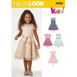 New Look Child's Dresses with Lace and Trim Details Sewing Pattern 6359