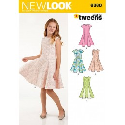 New Look Girls' Sized for Tweens Dress Sewing Pattern 6360