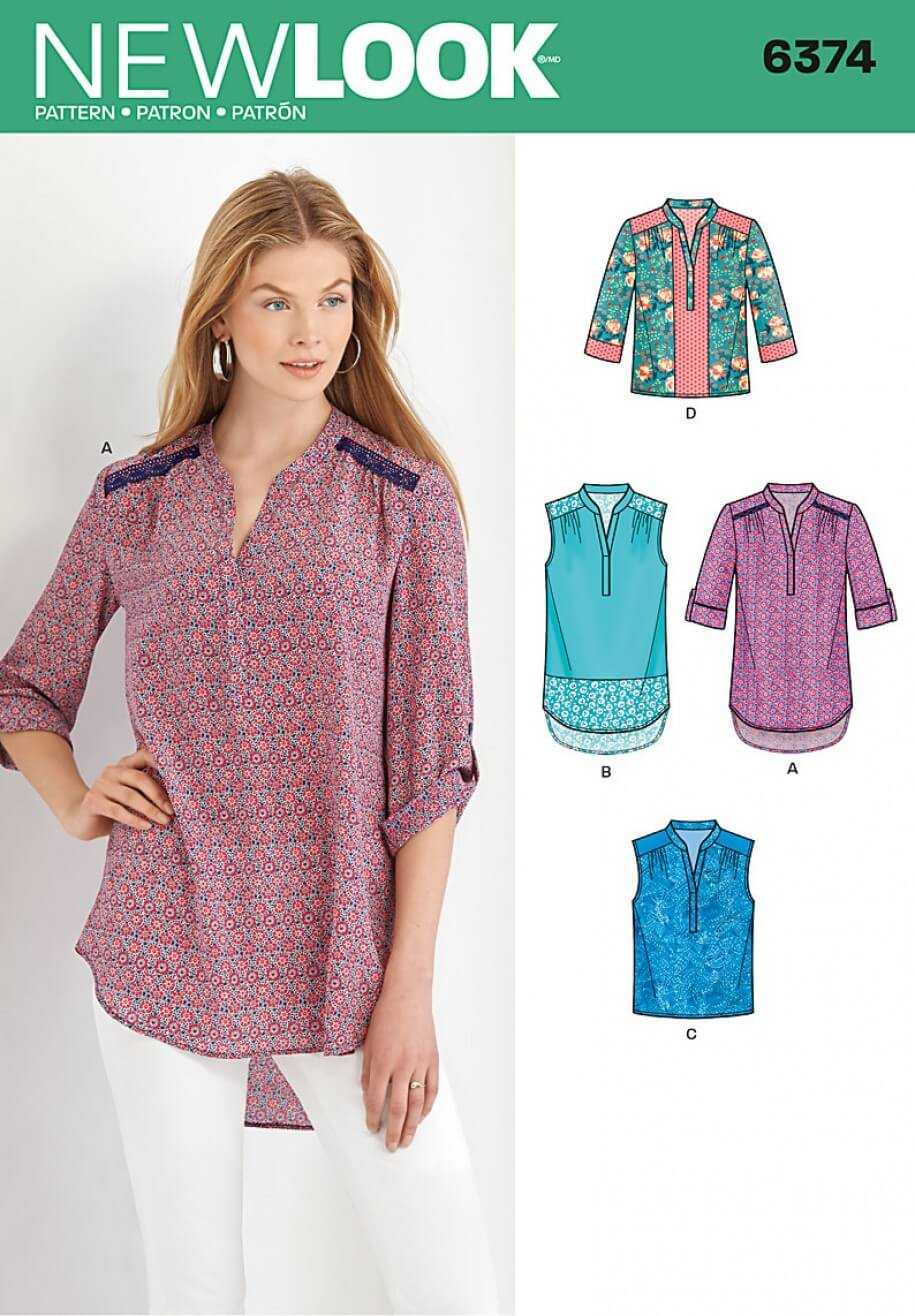 New Look Misses' Shirts with Sleeve and Length Options Sewing Pattern 6374