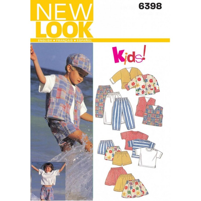 New Look Unisex Child's Top, Jacket, Trousers & Skirt Sewing Pattern 6398