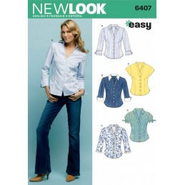 New Look Sewing Pattern 6407 Misses' Fitted Shirts Tops Blouse
