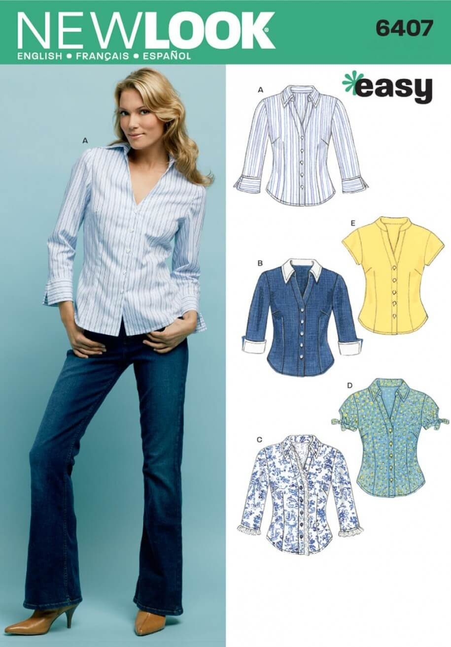 New Look Misses' Shirts Tops Sewing Pattern 6407