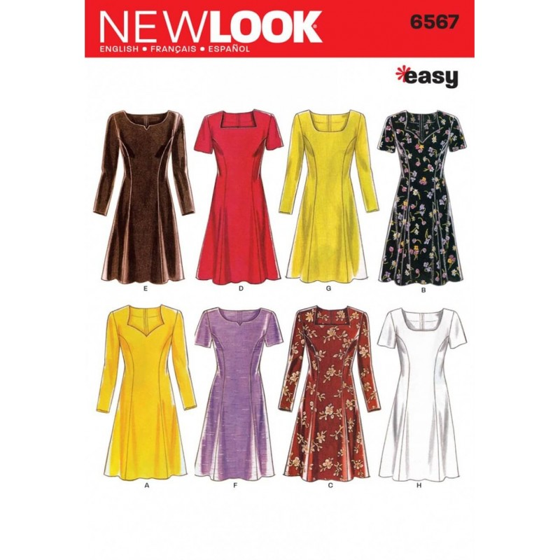 New Look Misses' Dresses Long & Short Sleeve Sewing Pattern 6567