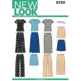 New Look Misses' Knit Tops, Skirts, and Trousers Sewing Pattern 6730