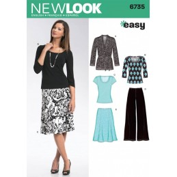 New Look Sewing Pattern 6735 Misses' Knit Cardigan, Tops, Trousers and Skirt