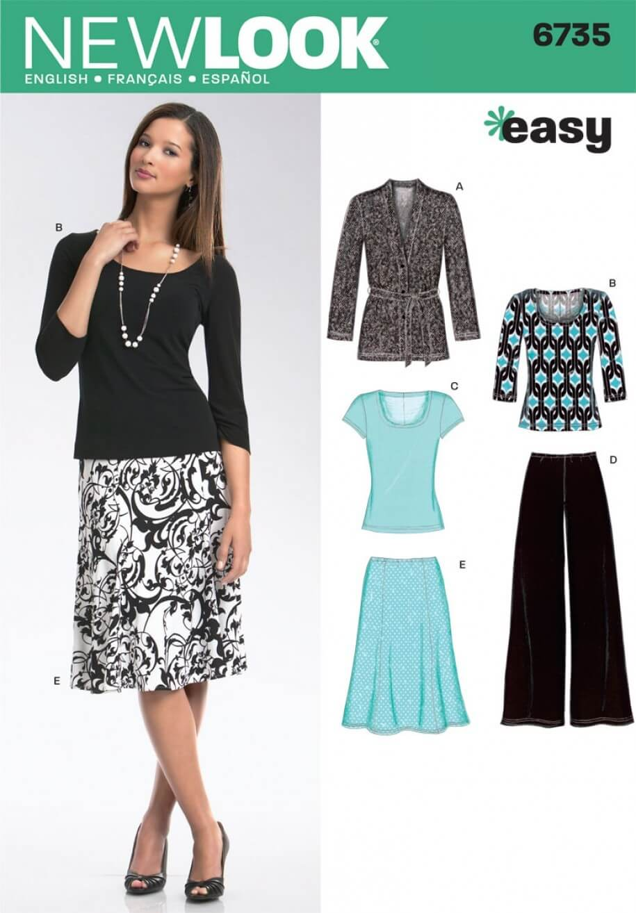 New Look Misses' Knit Cardigan, Tops, Trousers and Skirt Sewing Pattern 6735