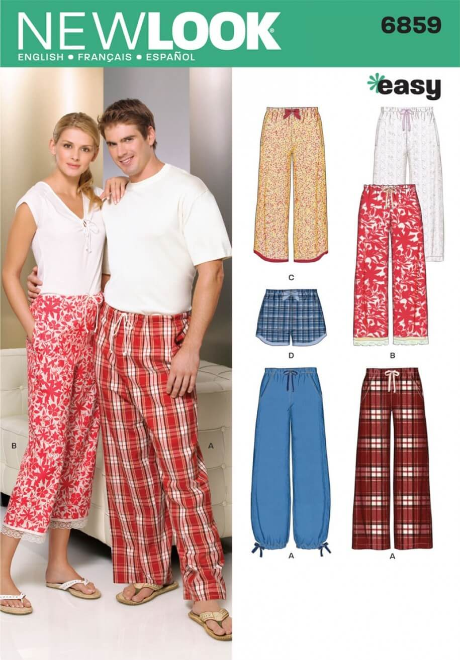 New Look Misses' Men and Teens Pyjama Trousers and Shorts Sewing Pattern 6859